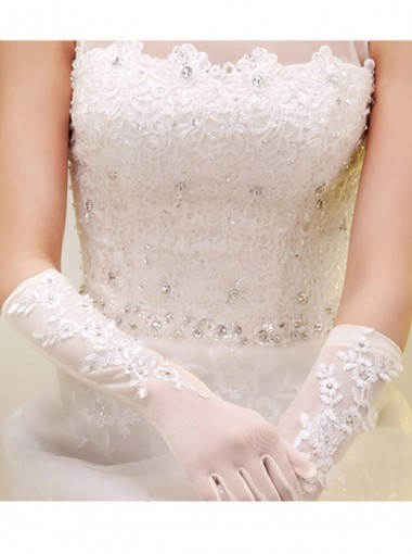 White Sheer Elbow Length Fingers Bridal Gloves With Appliques