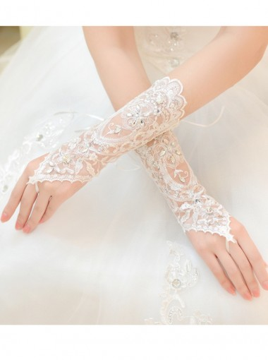 Lace Appliques White Bridal Gloves For Wedding Party