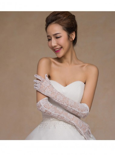 Above The Elbow Fingers Lace Bridal Gloves in White