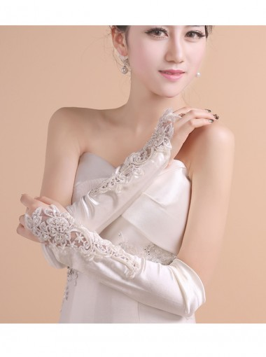 Satin Lace Appliques Elbow Length Bridal Gloves