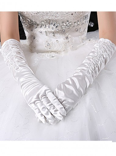 White Elbow Length Pleat Fingers Bridal Gloves