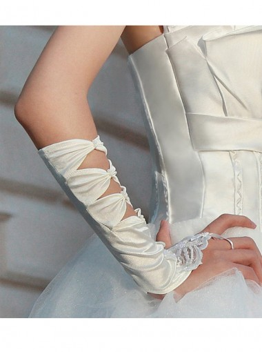 Elastic Satin Fingerless Bridal Gloves With Hollow