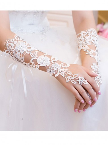 White Lace Elbow Length Bridal Gloves With Rhinestones