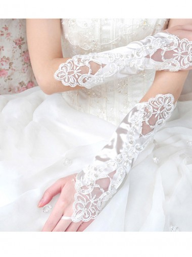 Elastic Satin Fingerless Bridal Gloves With Appliques