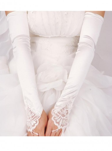 Above The Elbow Fingerless Red Elastic Satin Bridal Gloves