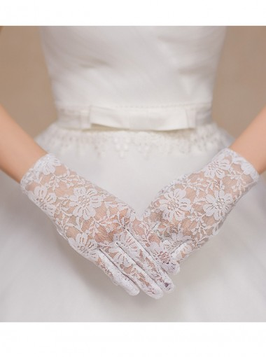 Lace White/Black Bridal Gloves With Fingers