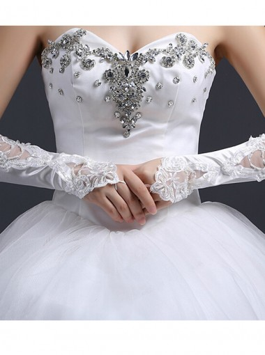 White Satin Appliques Bridal Gloves For Wedding Party