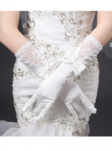 White Satin Fingers Bridal Gloves With Bow