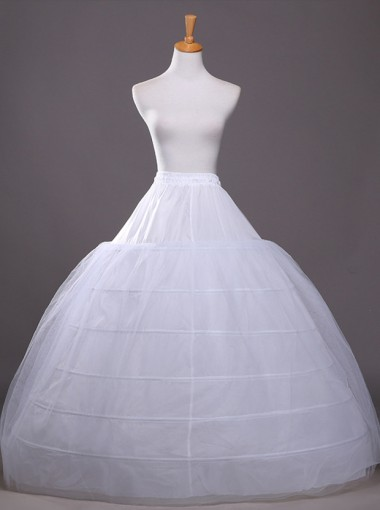 White 4 Hoops Plus Size White Wedding Petticoats/Crinoline