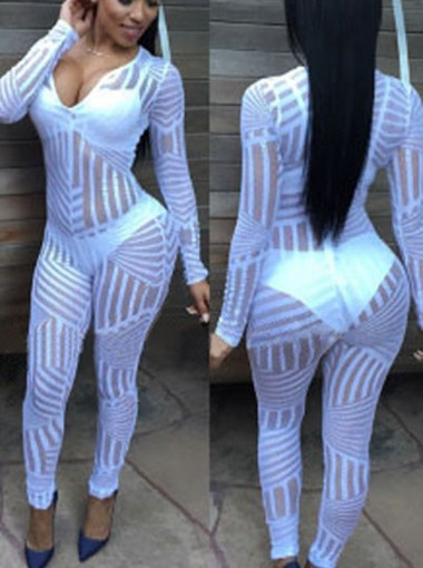 Sexy Hollow Long Sleeves White Women Tights Leggings