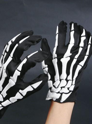 Fashionable Skeletons Hand Pattern Halloween Gloves For Men