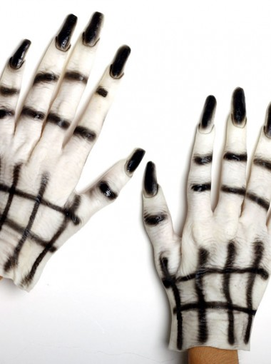 Halloween Masquerade Ornament Black Nail Ghost Gloves White