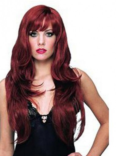 Dila Meng Halloween Sexy Popular Red Wine Wigs Bangs Hair Volume