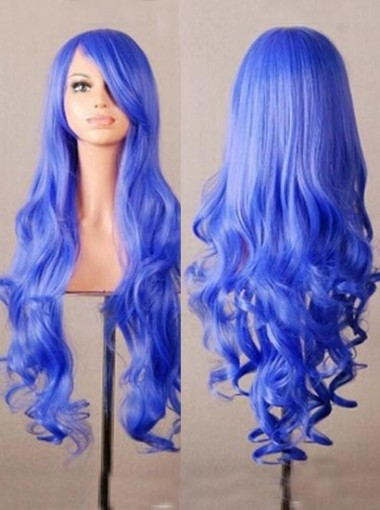 Blue Long Curly Cosplay Wigs Halloween Party