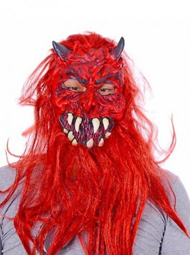 Halloween Horror Red Cosplay Wigs and Mask