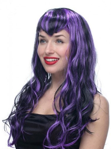 Synthetic Women Long Curly Wig Streaked Wig Vamp for Halloween