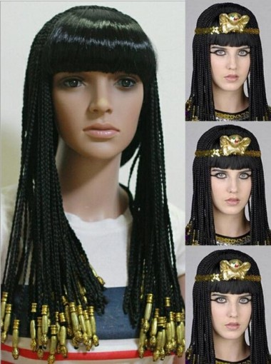 Pigtail Wig Anime Cosplay Halloween Christmas Cleopatra with Headdress