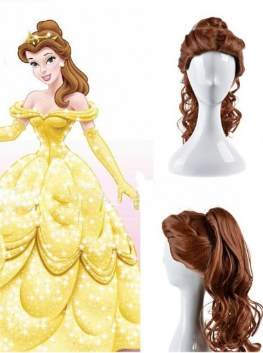 Beauty and the Beast Belle Cartoon Princess Long Curly Synthetic Wig Brown Cosplay Wig Ponytail