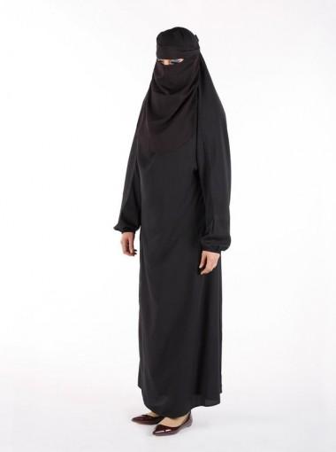 Muslim Islamic Women Full Length Plain Burka/Burqa with Face Cover Veil/Niqab