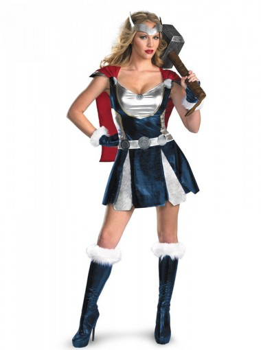 New Adult Thor Girl Classic Costume Women Marvel Superhero Halloween Party Cosplay