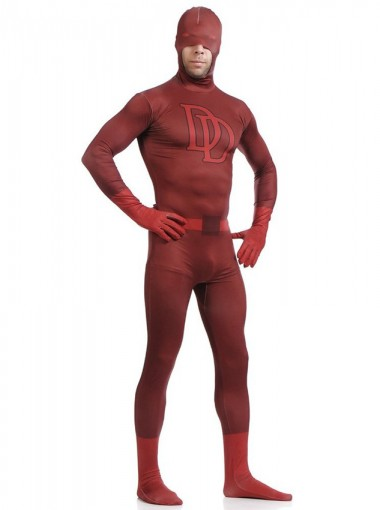 Double D Sorrel Superman Daredevil Costume Superhero Open Half-face Zentai Full Body Suit