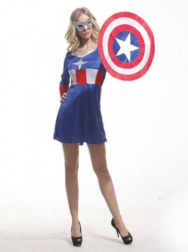 Halloween Costumes Comic Marvel Captain America Hero Adult Women Costume