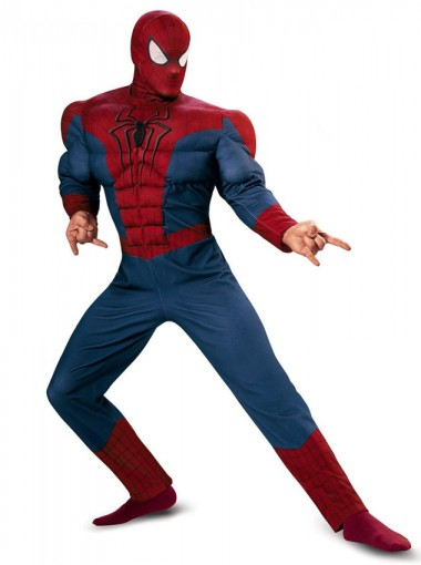 Red Spiderman Adult Muscle Chest Plus Size Halloween Costume For Man
