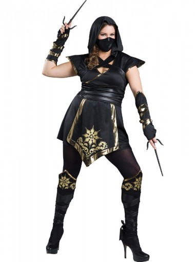 Elite Ninja New Style Black With Gold Plus Size Halloween Costume