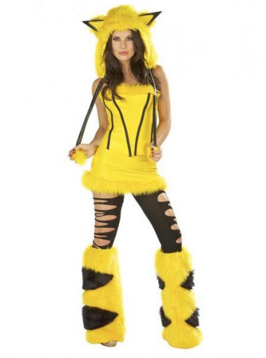 Japanese Yellow Pikachu Halloween  Costume For Women