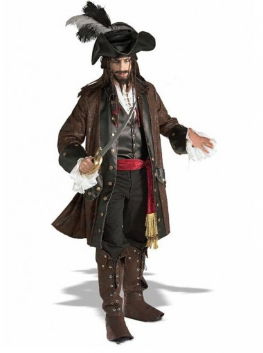New Arrival Mens Deluxe Jack Sparrow Pirate Buccaneer Fancy Dress Costume