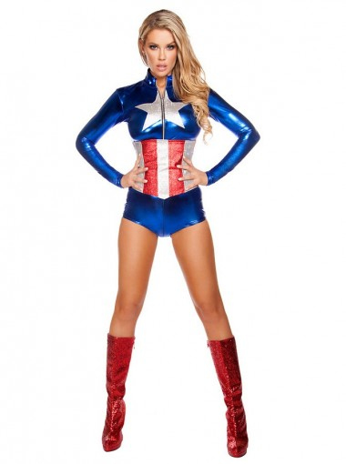 Captain America Cosplay Costume Halloween Dance Halloween