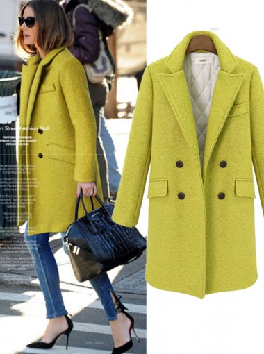 Women Fashion Long Yellow Thick Overcoat With Pockets