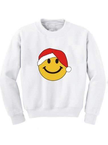 Fashion Women's X-mas Smiling Face 3D Printed Long Sleeves Hoodies