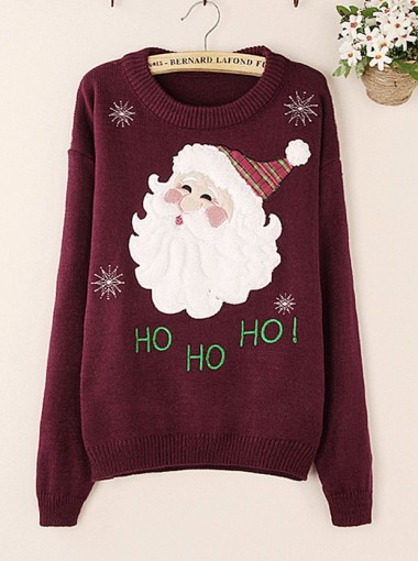 Casual Red Wine Snowflake Santa Claus Print Women Christmas Seaters