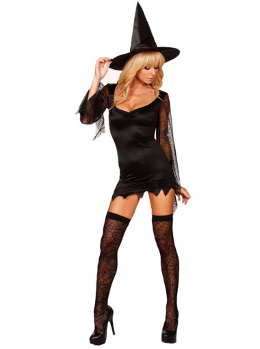 Sexy Mini Women's Black Witch Costumes for Halloween