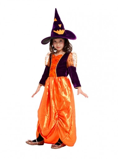 Lovely Kid's Pumpkin Witch Coatumes