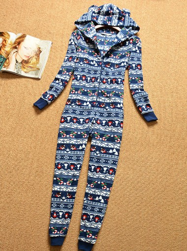 Fashion Hooded Long Sleeves Red Print Of Deer Christmas Pajamas Sleepwear