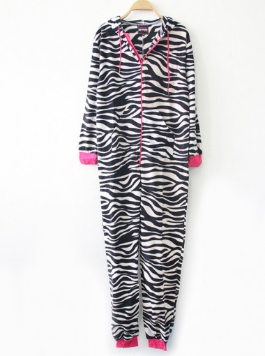 Hot Sale Hooded One-Piece Zebra-Stripe Zipper Sleepwear Pajamas
