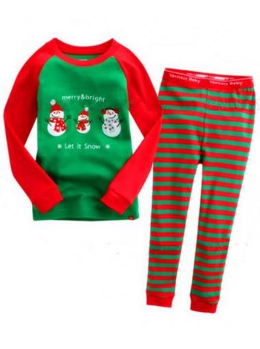 Hot Sale Red & Green Santa Claus Patten Children Christmas Pajamas