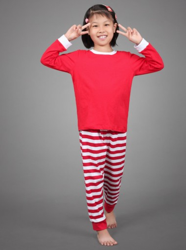Cute Two- pieces Red Stripe Children Christmas Pajamas