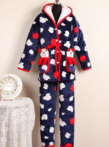 Fashion Hooded One-piece Navy Blue Print Winter Women Pajamas