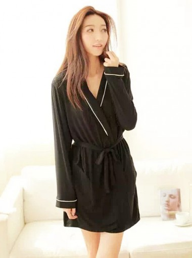 Sexy One-pieces Balck Women Pajamas Sleepwear With Ribbon