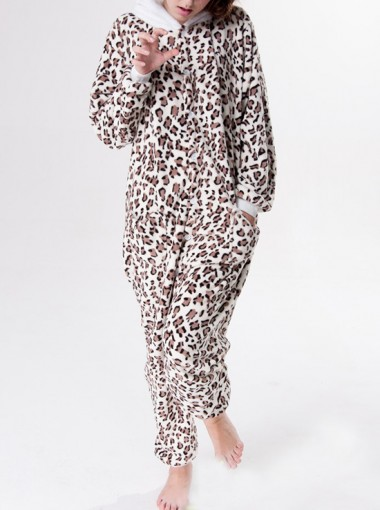 Fashion Flannel Women Leopard Animal Women One-pieces Pajamas Sleepwear