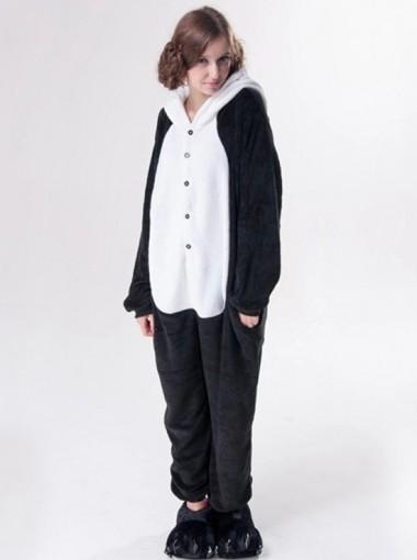 Cute Women Flannel Panda One-pieces Sleepwear Pajamas