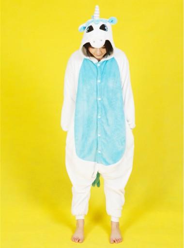 Cute Women Flannel Unicorn One-piece Cosplay Pajamas Sleepwear