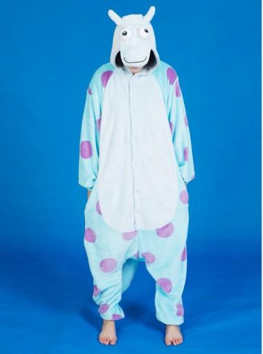 Women Fashion Blue Cow Hooded One-piece Pajamas Sleepwear