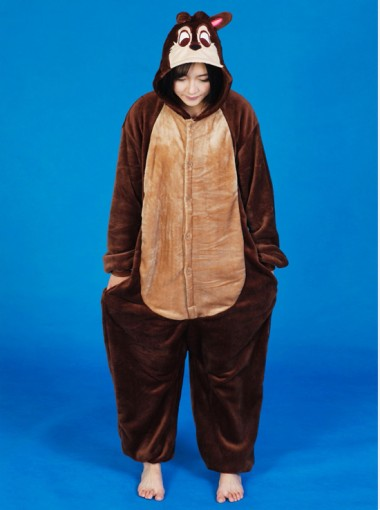 Cute Women Flannel One-pieces Chipmunks Women Pajamas Sleepwear