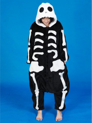 Hot Sale Black Skeleton One-piece Women Flannel Pajamas