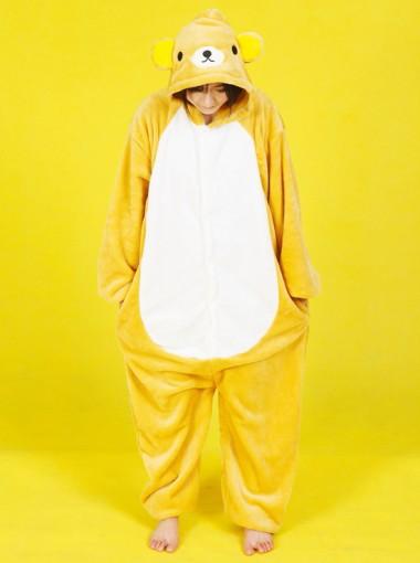 Fahsion Women Yellow Flannel One-piece Bear Pajamas Sleepwear