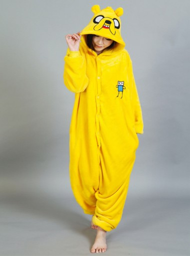 Cute Flannel Yellow One-piece Animmal Women Pajamas
